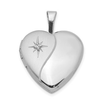 Sterling Silver Rhodium-plated & Dia. 16mm D/C Heart Locket