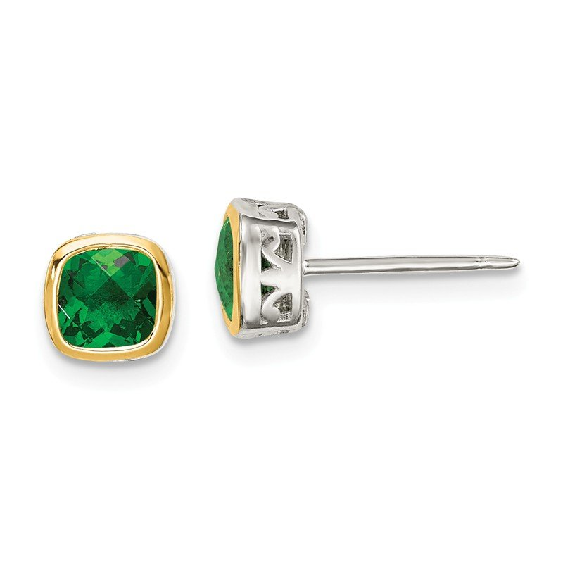 Shey Couture Sterling Silver w/ 14K Accent Created Emerald Square Stud Earrings