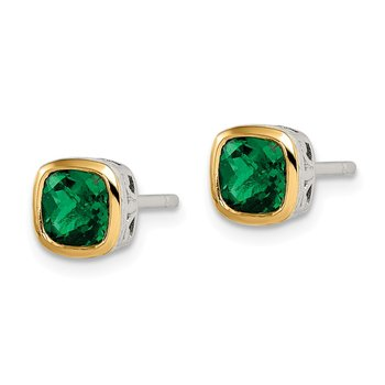 Sterling Silver w/ 14K Accent Created Emerald Square Stud Earrings
