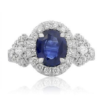 Oval Sapphire Halo Ring