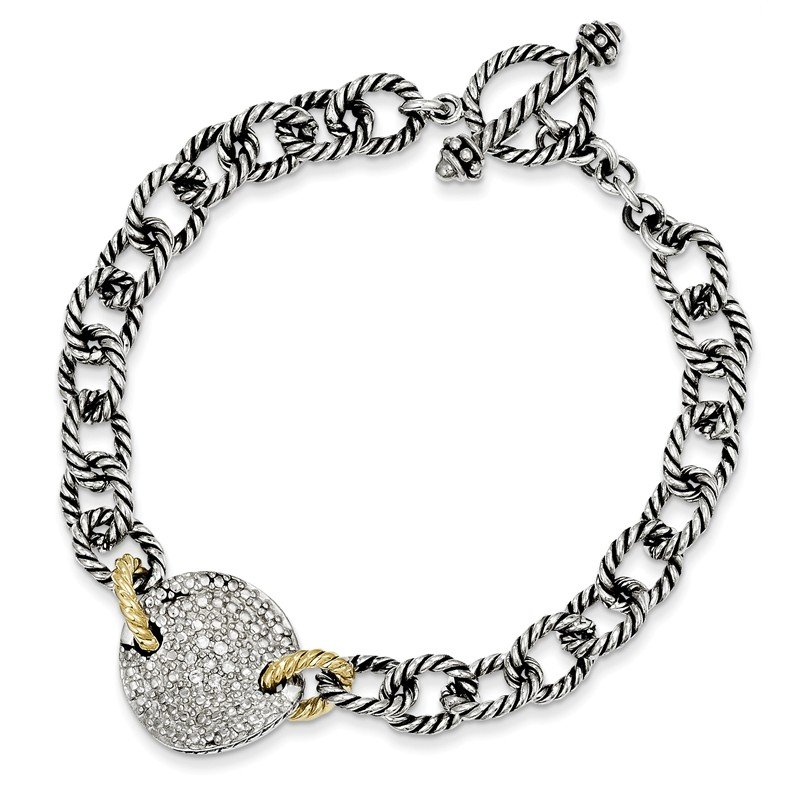 Shey Couture Sterling Silver w/14k .035ct. Diamond 7.5in Link Bracelet