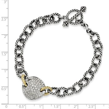 Sterling Silver w/14k .035ct. Diamond 7.5in Link Bracelet