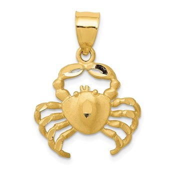 14k Satin Diamond-cut Crab Pendant