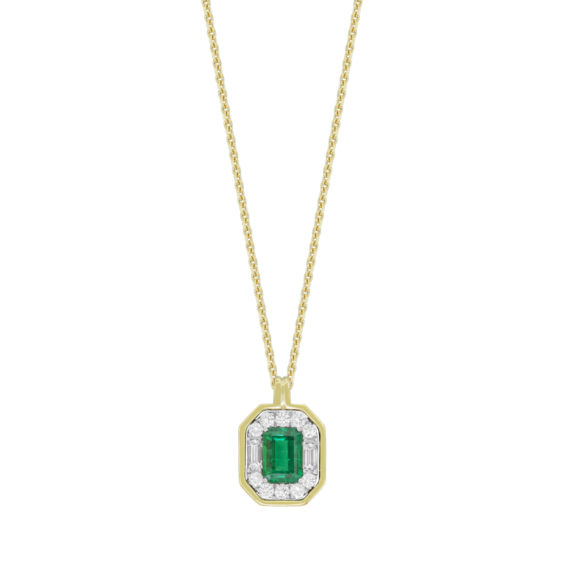 Spark Creations Emerald & Diamond Halo Necklace
