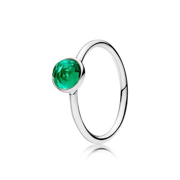 May Droplet Ring, Royal-Green Crystal