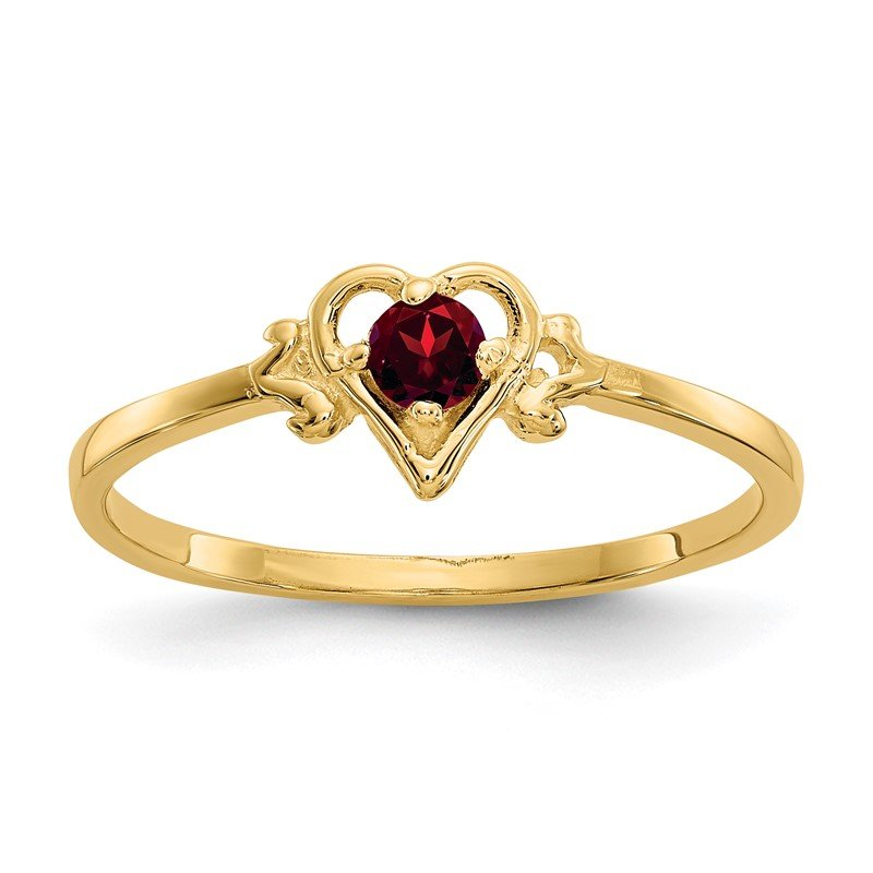 Quality Gold 14K Garnet Birthstone Heart Ring