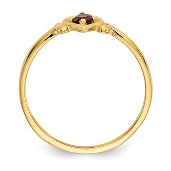14K Garnet Birthstone Heart Ring