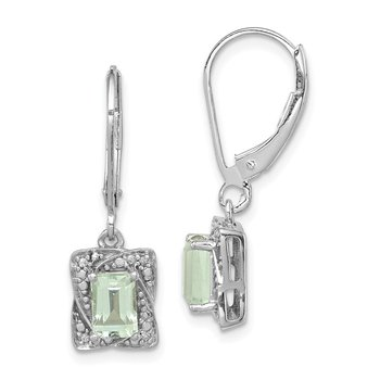 Sterling Silver Rhodium-plated Diamond & Green Quartz Earrings