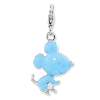 Sterling Silver Amore La Vita Rhodium-plated Enameled 3-D Mouse Charm