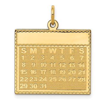 14k Sunday the First Day Calendar Pendant