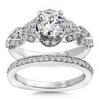 Caro74 Diamond Engagement Ring Mounting in 14K White Gold with Platinum Head (.29 ct. tw.)