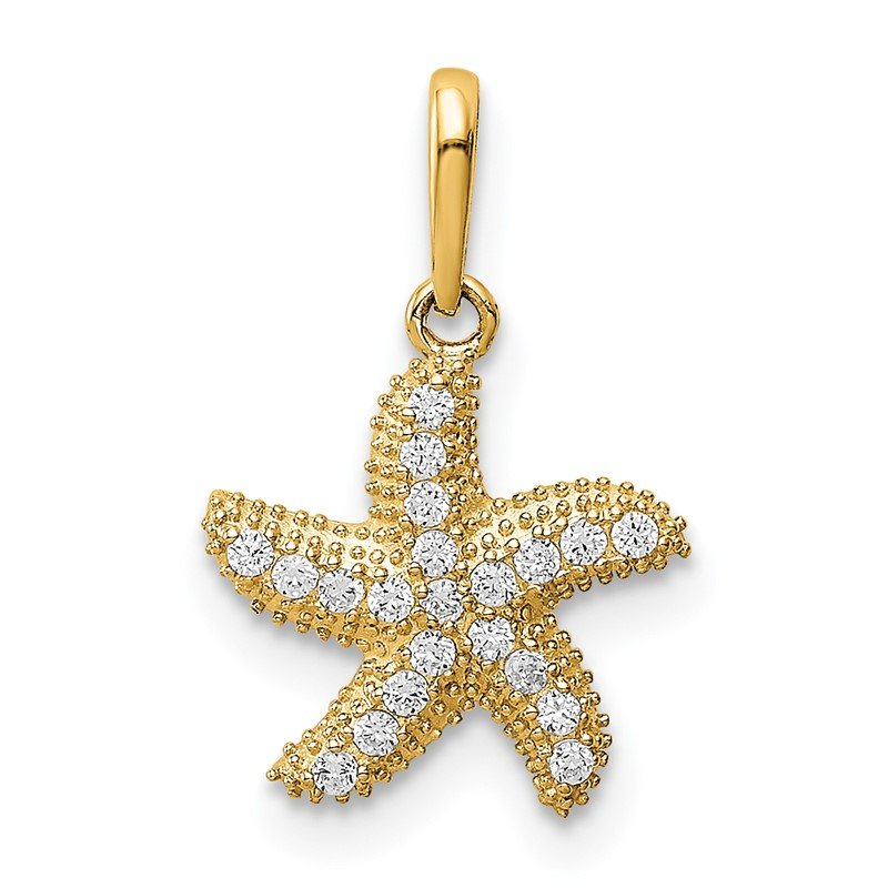 Quality Gold 14K CZ Starfish Pendant