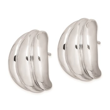 Sterling Silver Polished Rhodium Plated Hollow Post Earrings