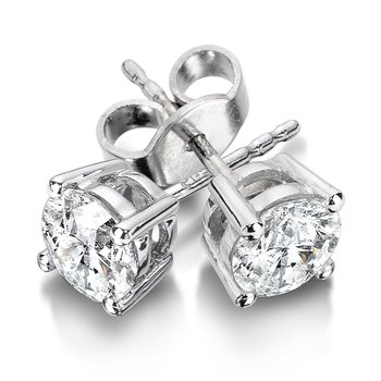Four Prong Diamond Studs in 14k White Gold (1/4ct. tw.)