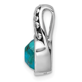 Sterling Silver Rhodium-plated Oxidized Recon. Turquoise&CZ Pendant