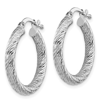 10k 3x15 White Gold Diamond-cut Round Hoop Earrings