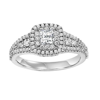 14K Diamond Engagement Ring 1/2 ctw With 1/3 ct Center