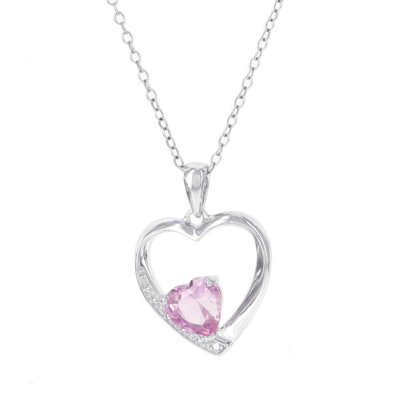 Moodys jewelry moodys signature sterling silver created pink moodys signature sterling silver created pink sapphire and diamond accent heart pendant aloadofball Image collections