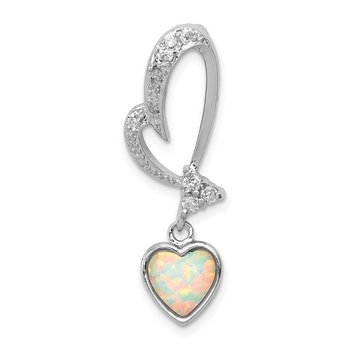 Sterling Silver Rhodium Plated Opal and CZ Heart Pendant