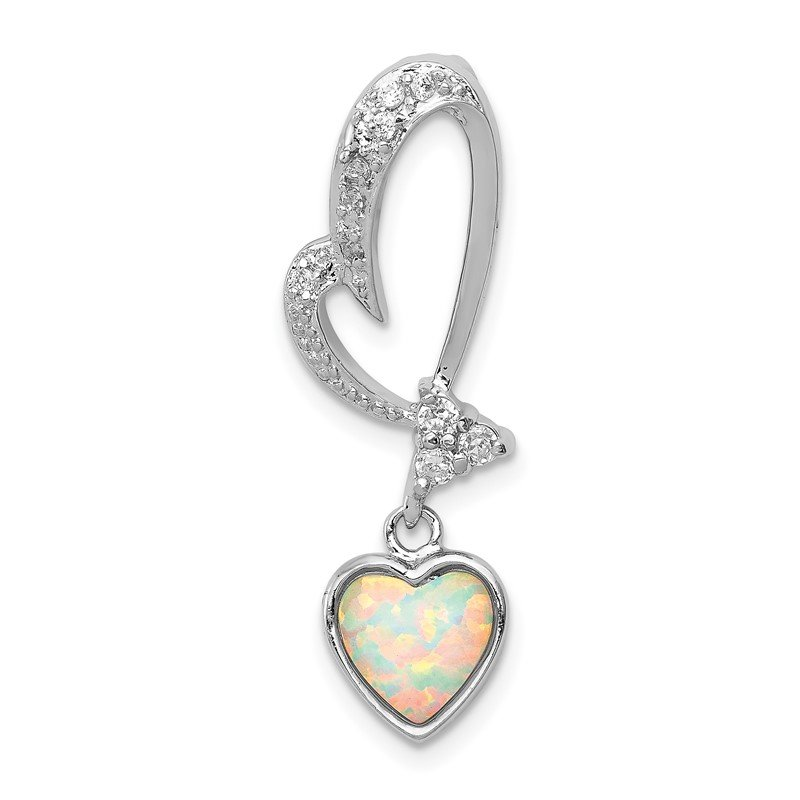Quality Gold Sterling Silver Rhodium Plated Opal and CZ Heart Pendant