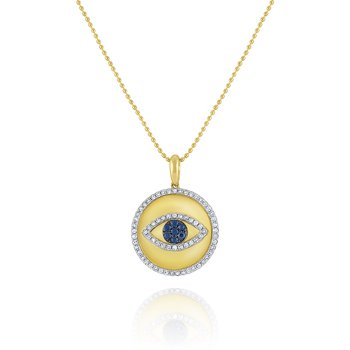 Blue Sapphire & Diamond Evil Eye Medallion Necklace Set in 14 Kt. Gold