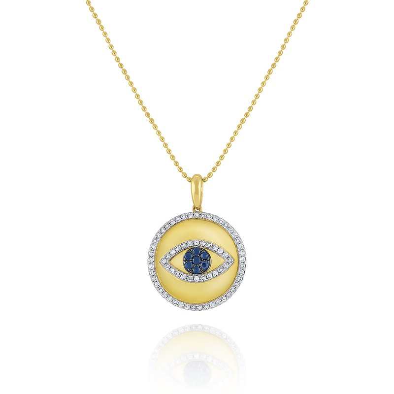 KC Designs Blue Sapphire & Diamond Evil Eye Medallion Necklace Set in 14 Kt. Gold