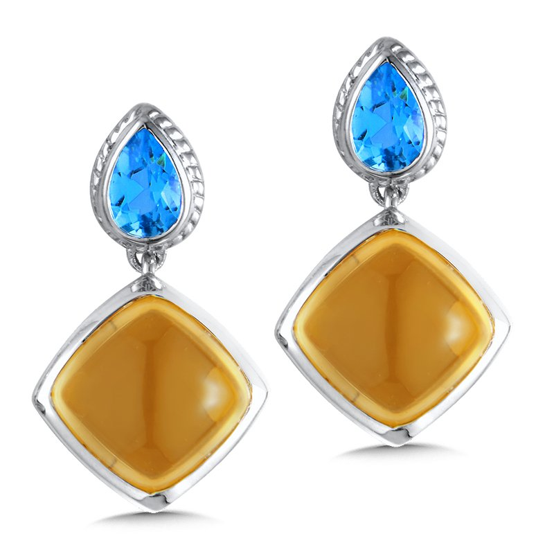 Colore Sg Sterling Silver Citrine and Blue Topaz Post Earrings