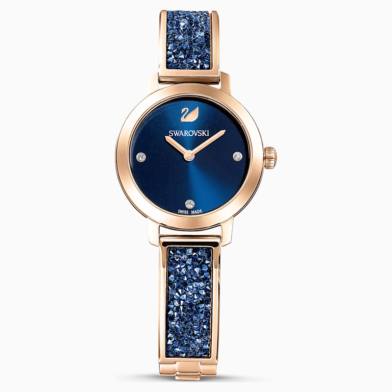 Swarovski Cosmic Rock Watch, Metal bracelet, Blue, Rose-gold tone PVD