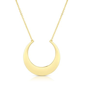 14K Gold Flat Crescent Necklace