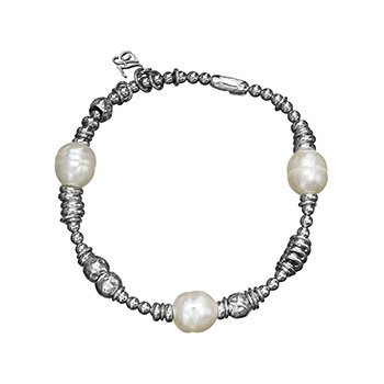 Honora Sterling Silver 9.5-10mm Ringed White Freshwater Cultured Pearl Rhodium Beaded Stretch Tin Cup Bracelet