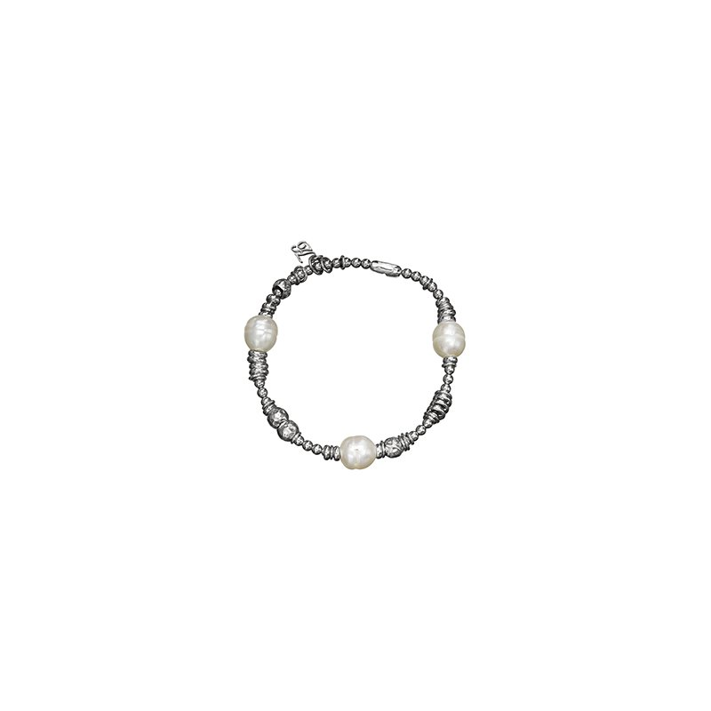 Honora Honora Sterling Silver 9.5-10mm Ringed White Freshwater Cultured Pearl Rhodium Beaded Stretch Tin Cup Bracelet