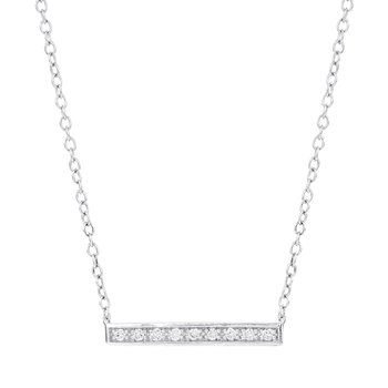 14k White Gold 1/10ct Diamond Bar Necklace