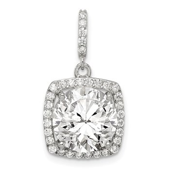 Sterling Silver Rhodium-plated Polished CZ Pendant