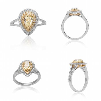 Pearshaped Yellow Diamond Ring