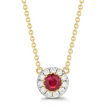 Classic Round Ruby 0.30C & Diamonds 0.17C Pendant in 14K Gold
