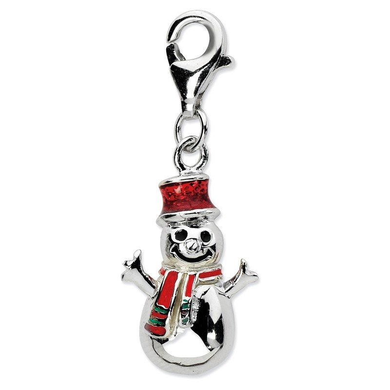 Quality Gold Sterling Silver Enamel Snowman w/Lobster Clasp Charm
