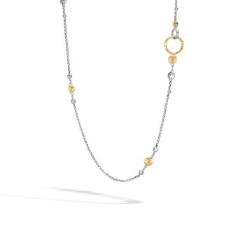 Dot Station Necklace in Silver and Hammered 18K Gold