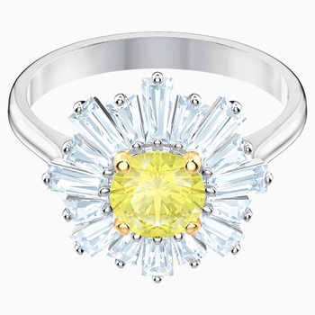 Sunshine Ring, Yellow, Rhodium plated