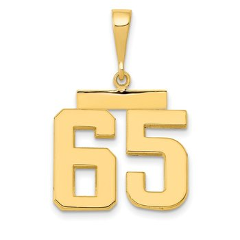 14k Medium Polished Number 65 Charm