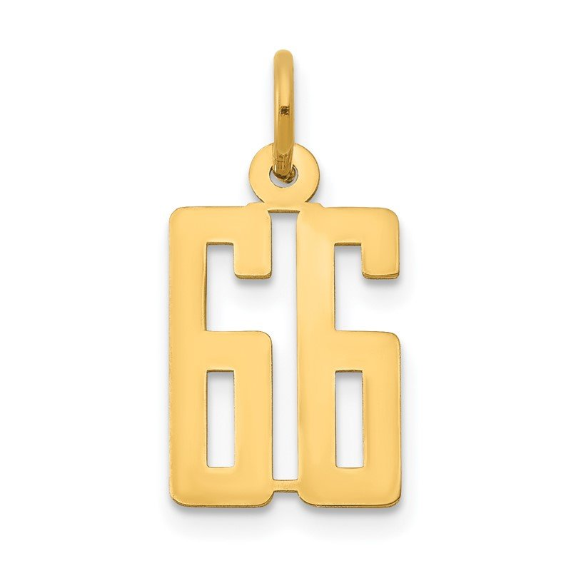 Quality Gold 14k Small Polished Elongated 66 Charm