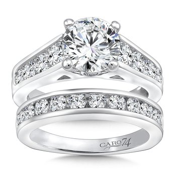 Engagement Ring With Side Stones in 14K White Gold with Platinum Head (2ct. tw.)