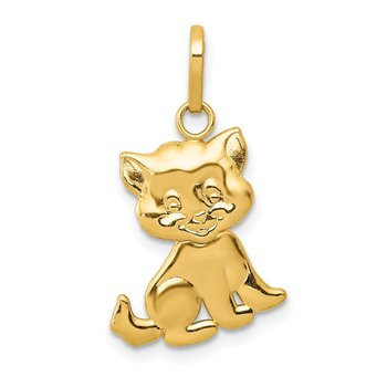 14k Polished Moveable Cat Pendant