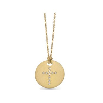 18Kt Gold Disc Pendant With Diamond Cross