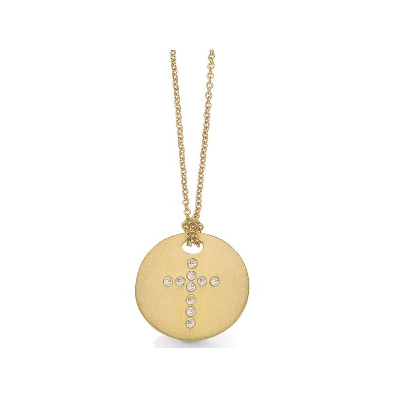 Roberto Coin 18Kt Gold Disc Pendant With Diamond Cross