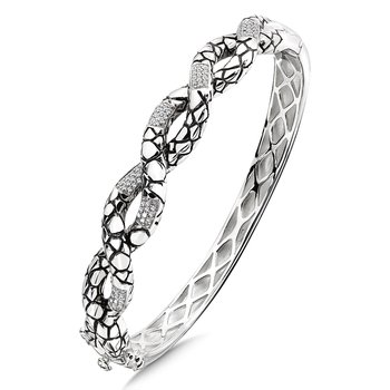 Sterling Silver Sterling Silver White Diamond Serpentine Bangle Bracelet