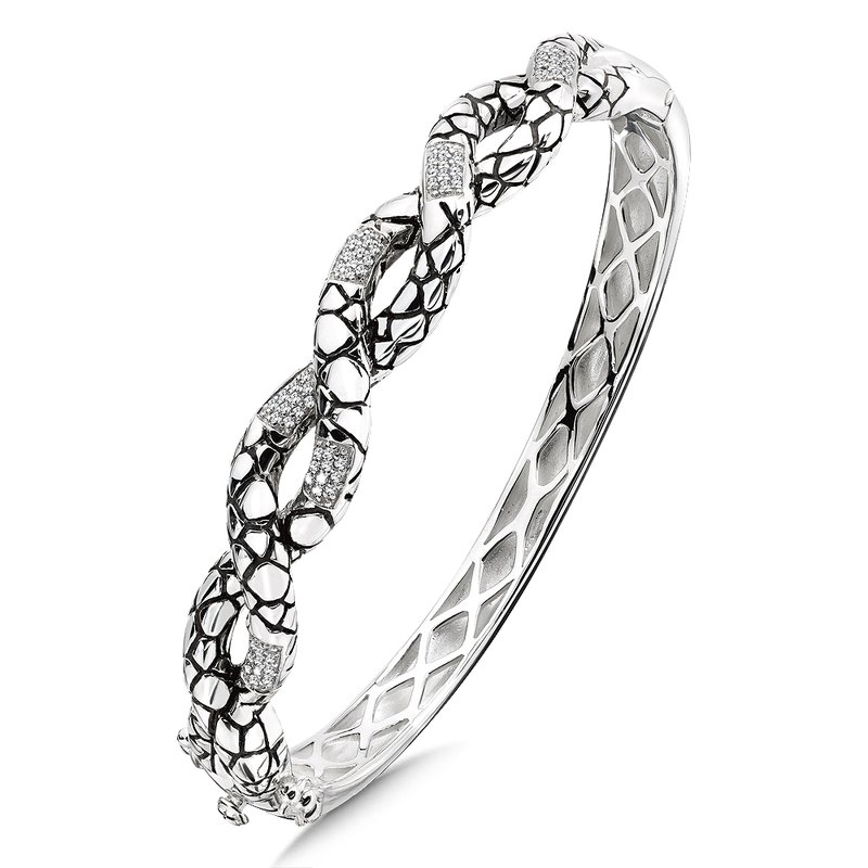 Colore Sg Sterling Silver Sterling Silver White Diamond Serpentine Bangle Bracelet