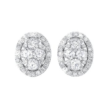 Oval Halo Diamond Earrings in 14K White Gold (1/2 ct. tw.)
