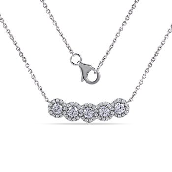 "14K Necklace with 57 Diamonds 0.81C 18"" chain"
