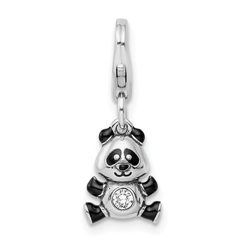Sterling Silver Enameled Swarovski Panda with Lobster Clasp Charm