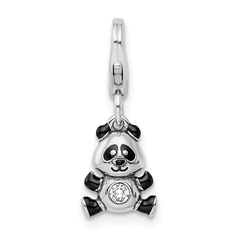 Quality Gold Sterling Silver Enameled Swarovski Panda with Lobster Clasp Charm